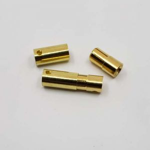 6.5mm GOLD PLATED BULLET BANANA PLUG CONNECTOR - 2 MALE/FEMALE